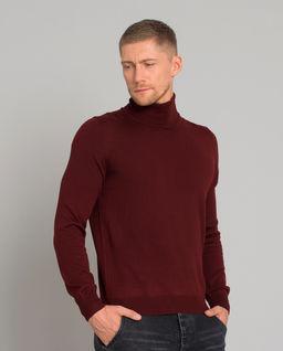 Bordowy sweter z golfem