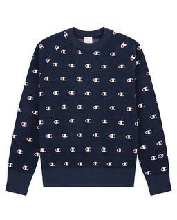 Granatowy sweter z logo