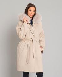 Beżowy wełniany płaszcz z puchową kamizelką