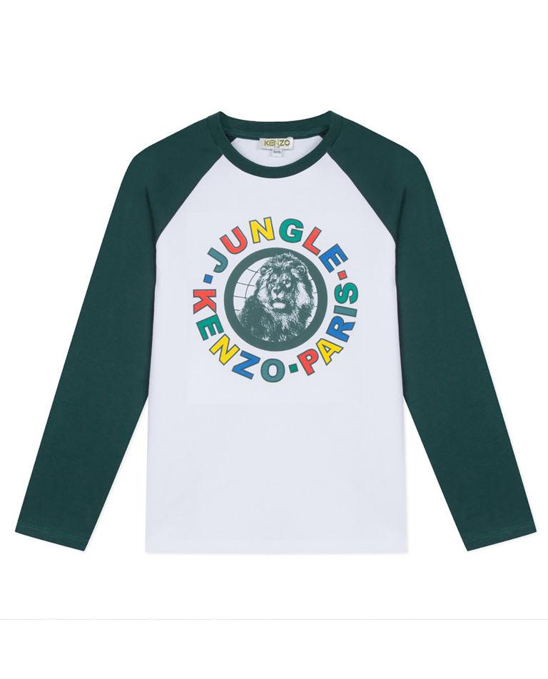 Biało-zielona koszulka z nadrukiem 5-12 lat