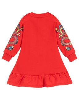 Czerwona sukienka z logo 0-2 lata