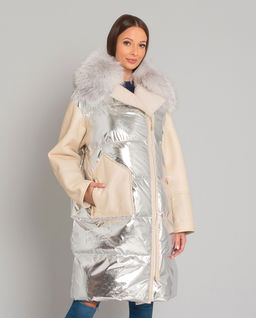 Płaszcz puchowy z futrem