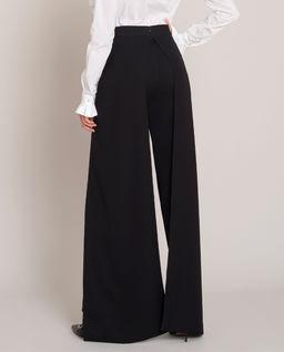 Czarne wysmuklające spodnie z wysokim stanem