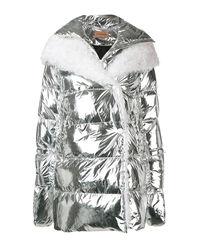 Srebrna kurtka puchowa z kożuchem