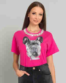Růžové tričko s motivem psa