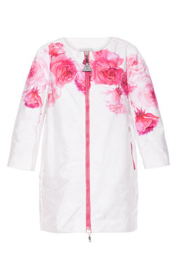 Biały płaszcz w kwiaty