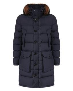 Granatowy płaszcz puchowy