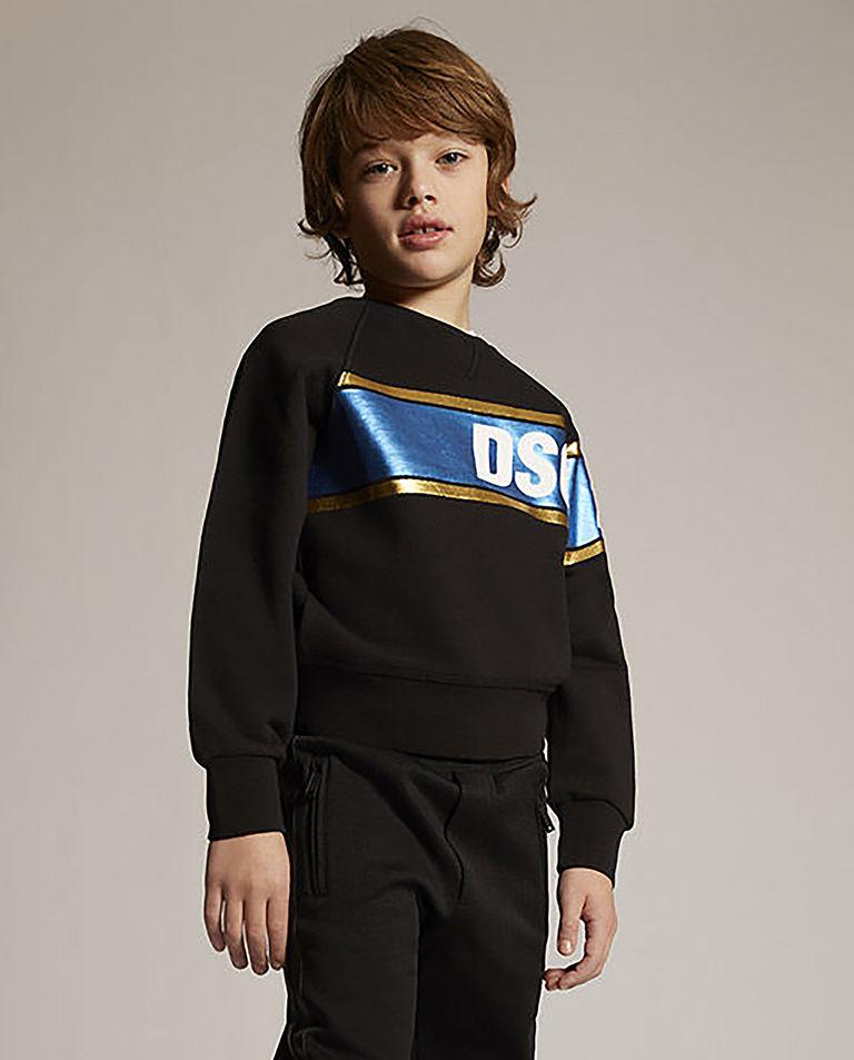 Czarna bluza z metalicznym nadrukiem 6-16 lat