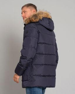 Granatowa kurtka z futrem