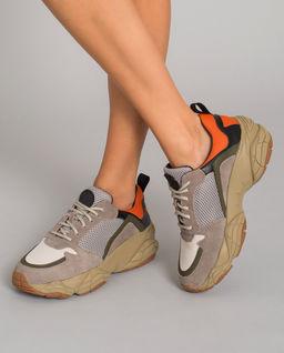 Beżowe sneakersy z zamszu