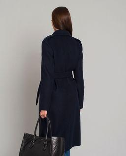 Granatowy wełniany płaszcz