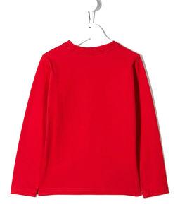Czerwona koszulka z kolorowym nadrukiem 6-10 lat