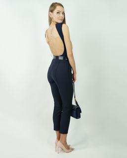 Granatowe spodnie z lampasami