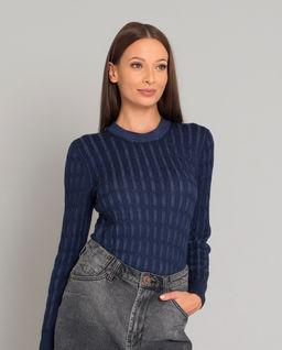 Granatowy wełniany sweter