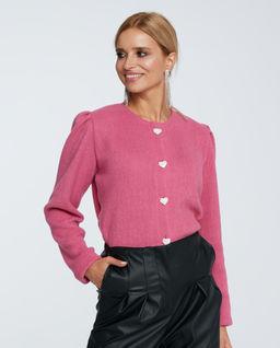 Różowy sweter z bufkami