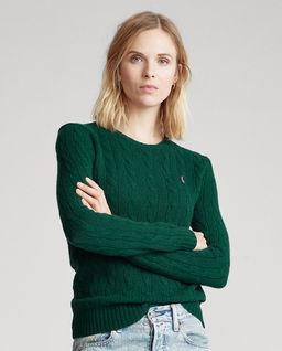 Zielony sweter z domieszką kaszmiru