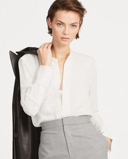 Biała bluzka z jedwabiu