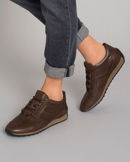 Brązowe skórzane sneakersy