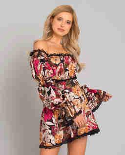 Jedwabna sukienka z bufkami Margaret