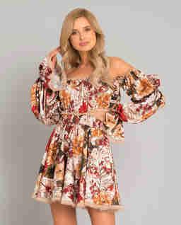 Jedwabna sukienka w kwiaty Margaret