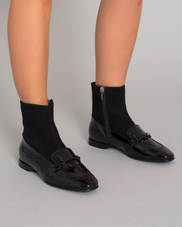 Czarne lakierowane botki
