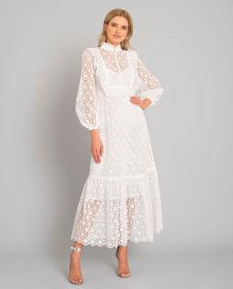 Biała koronkowa sukienka maxi