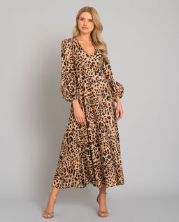 Lniana sukienka w panterkę