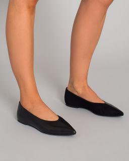 Czarne baleriny z zamszu i skóry