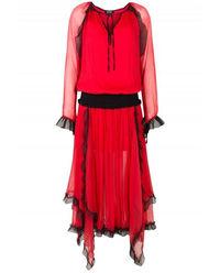 Czerwona sukienka maxi z jedwabiu Sansa