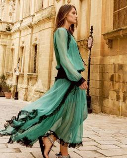 Zielona jedwabna sukienka z falbanami Sansa
