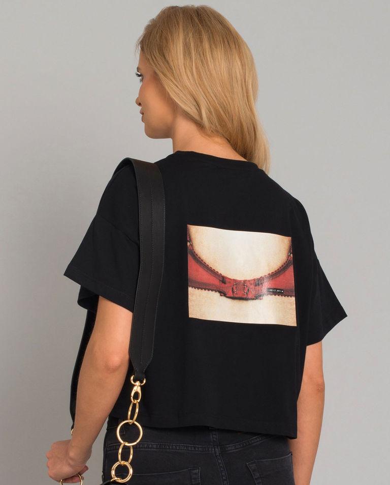 Krótki czarny t-shirt z napisem