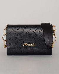 Czarna torebka ze złotymi detalami