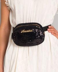 Czarna torebka na pas z cekinami