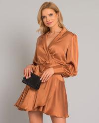 Miedziana sukienka z jedwabiu