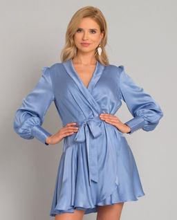Błękitna sukienka z jedwabiu