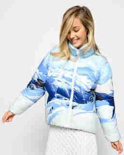 Pikowana kurtka z nadrukiem górskim