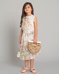 Biała sukienka w kwiaty 4-10 lat