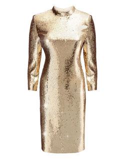 Złota sukienka z cekinów