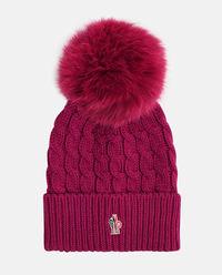 Bordowa czapka z pomponem
