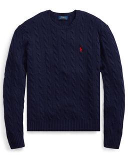 Granatowy sweter z wełny
