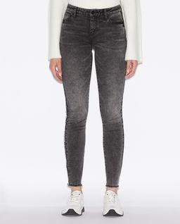 Czarne jeansy z logowanym lampasem