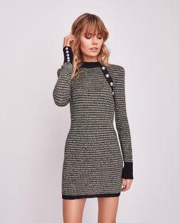 Sukienka tweedowa z guzikami