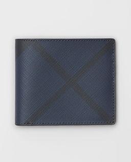 Granatowy portfel w kratę
