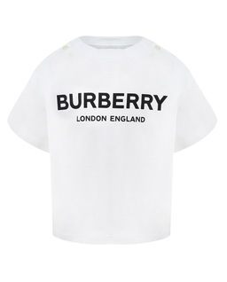 Biały t-shirt z logo 0-2 lata