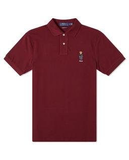 Bordowa koszulka polo z misiem
