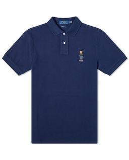 Granatowa koszulka polo z misiem