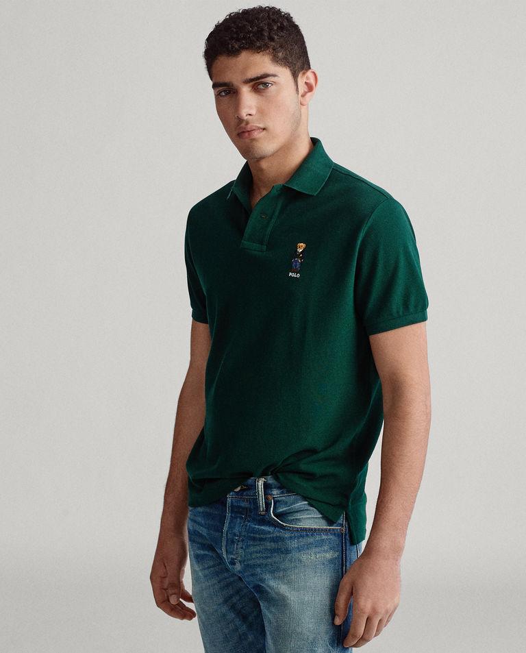 Zielona koszulka polo z misiem