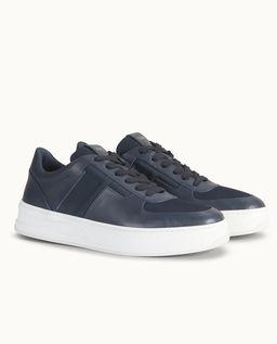 Granatowe skórzane sneakersy