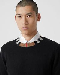 Kaszmirowy sweter z kontrastowym paskiem