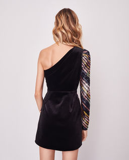 Asymetryczna mini sukienka w paski
